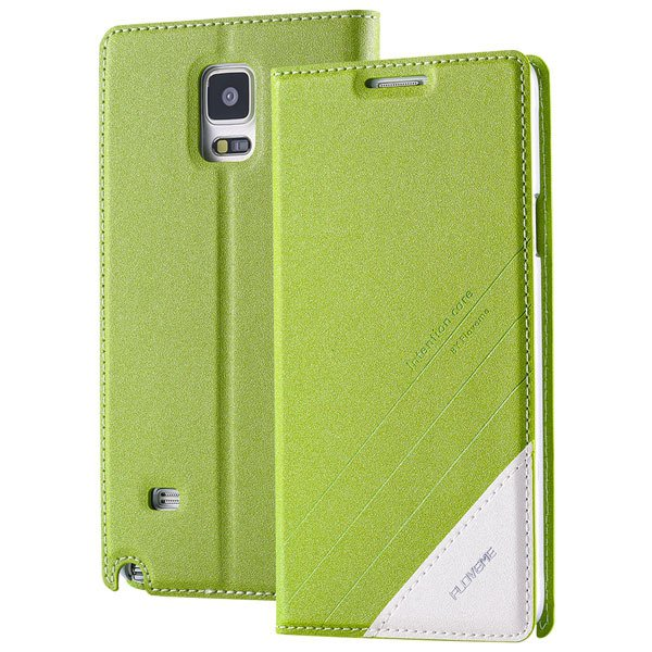 For Note 4 Magnetic Flip Case Original Pu Leather Handmade Cover F 32266173439-4-green