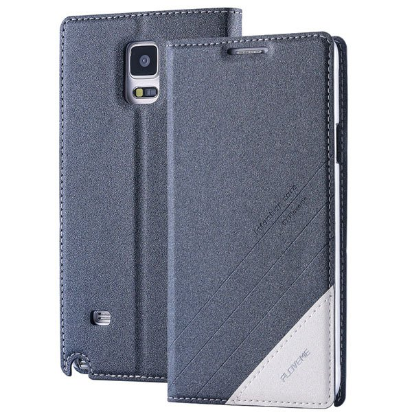 For Note 4 Magnetic Flip Case Original Pu Leather Handmade Cover F 32266173439-6-gray