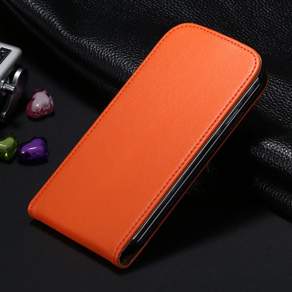 S4 Genuine Leather Case Flip Vertical Cover For Samsung Galaxy S4  1790455093-7-orange