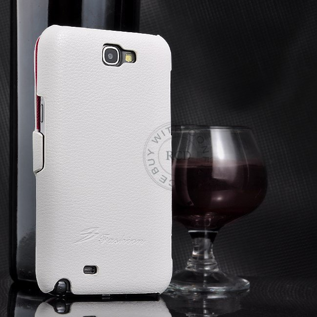 100% Retro Style Real Cowhide Flip Cover For Samsung Galaxy Note2  1064100675-2-White