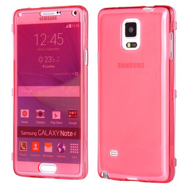 Newest Flip Open Full Clear Cover For Samsung Galaxy Note 4 Iv N91 32247651581-2-red