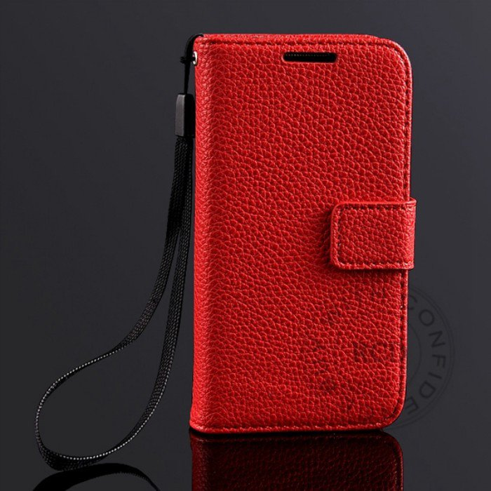 S4 Mini Lychee Pattern Leather Case For Samsung Galaxy S4 Mini I91 1274029657-3-Red