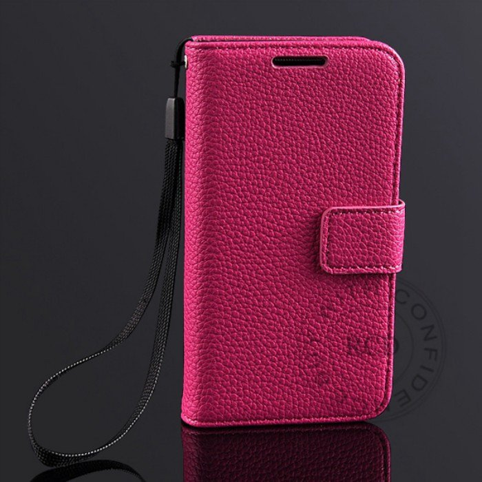 S4 Mini Lychee Pattern Leather Case For Samsung Galaxy S4 Mini I91 1274029657-4-hot pink