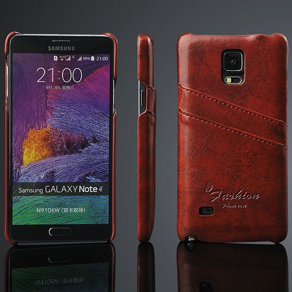 Note 4 Card Insert Back Cover For Samsung Galaxy Note 4 Iv N9100 V 32281407270-5-brown