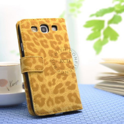 Hot For Samsung Galaxy S3 I9300 Leather Wallet Case Pu Leopard Ski 1064181343-2-Yellow