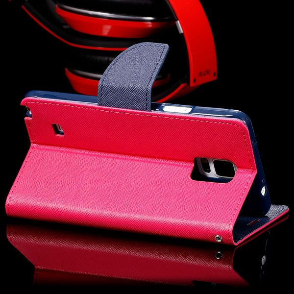 For Note 4 Flip Wallet Cover For Samsung Galaxy Note 4 N9100 Full  32260100946-3-hot pink