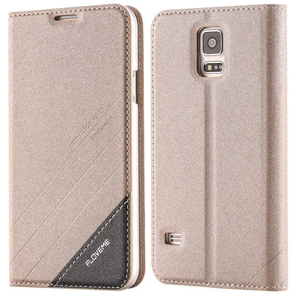S5 Pu Leather Case Original Flip Cover For Samsung Galaxy S5 Sv I9 32267055276-5-gold