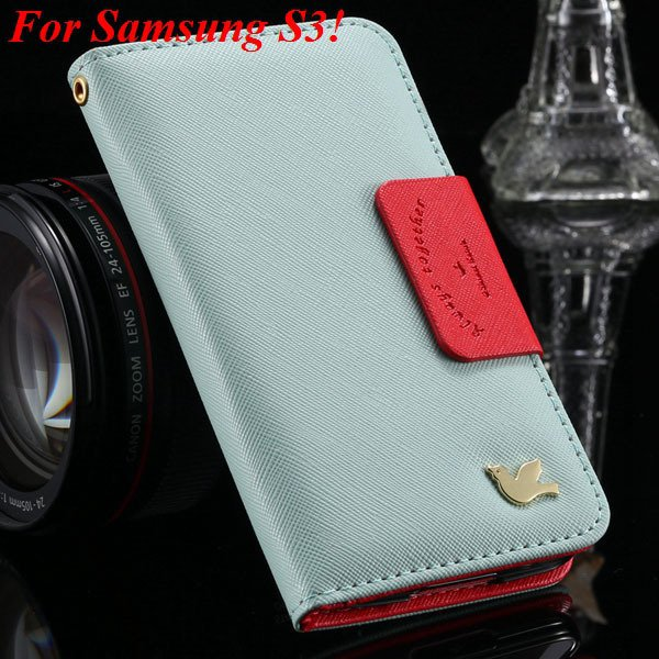 2 Models For Samsung Series Leather Case For Galaxy S5 S3 Fly Bird 1879668475-3-sky blue for S3