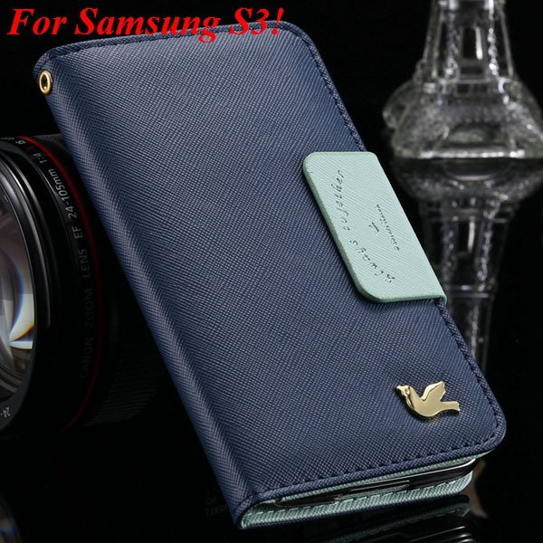 2 Models For Samsung Series Leather Case For Galaxy S5 S3 Fly Bird 1879668475-6-deep blue for S3