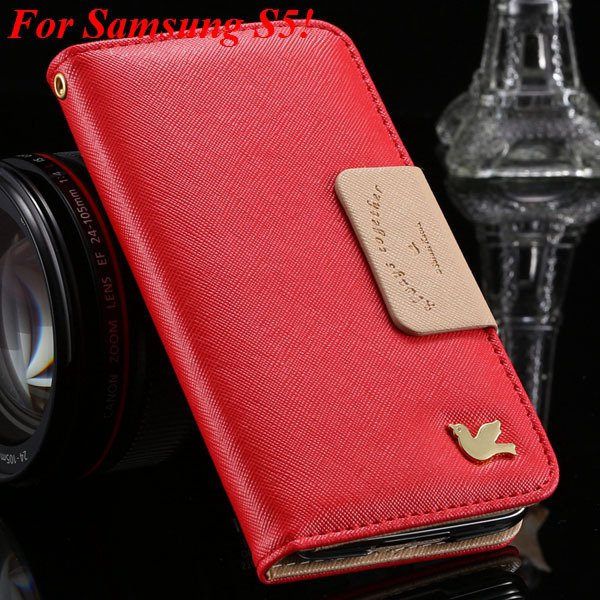2 Models For Samsung Series Leather Case For Galaxy S5 S3 Fly Bird 1879668475-10-red for S5