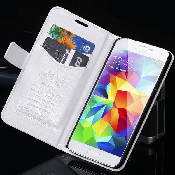 S5 Pu Leather Case With Card Slot Full Protect Cover For Samsung G 32262936634-2-white