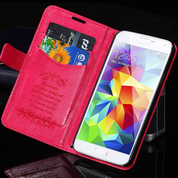 S5 Pu Leather Case With Card Slot Full Protect Cover For Samsung G 32262936634-6-hot pink