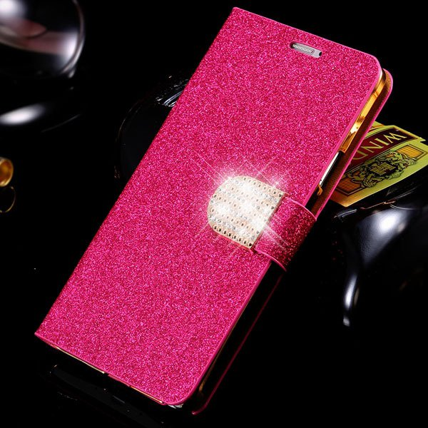For Note 4 Bling Diamond Case Luxury Pu Leather Cover With Shiny R 32276752072-5-rose