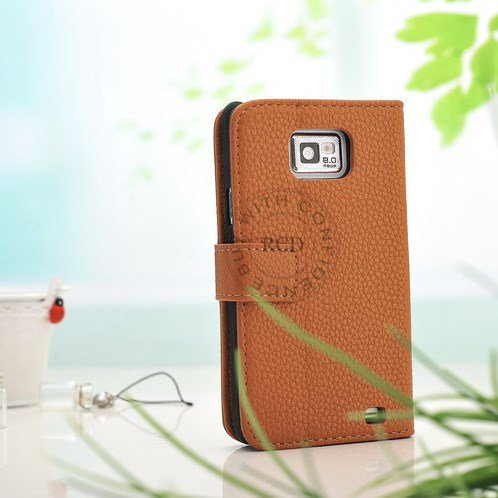 Factory Price Pu Wallet Flip Leather Case For Samsung Galaxy S2 Ii 1064181507-3-Khaki