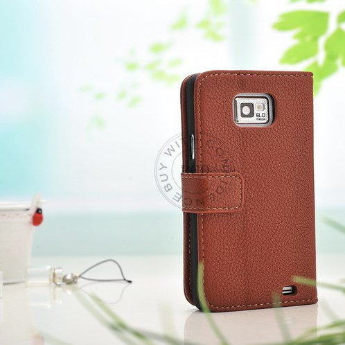 Factory Price Pu Wallet Flip Leather Case For Samsung Galaxy S2 Ii 1064181507-4-Brown