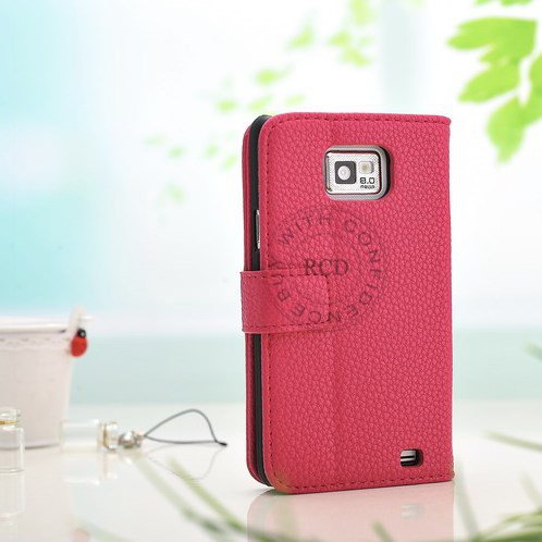 Factory Price Pu Wallet Flip Leather Case For Samsung Galaxy S2 Ii 1064181507-5-Pink