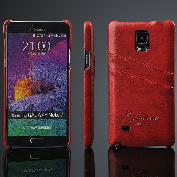 Note 4 Card Slot Back Case For Samsung Galaxy Note 4 Iv N9100 Retr 32281375945-1-red