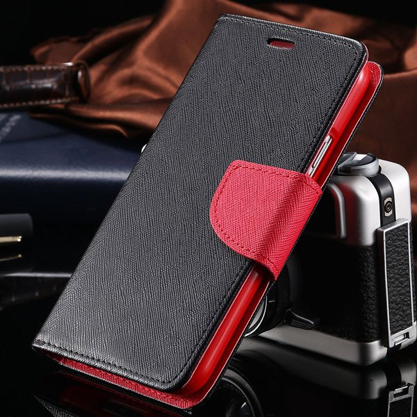 S6 Luxury Pu Leather Case Wallet Book Cover For Samsung Galaxy S6  32301691284-11-black red