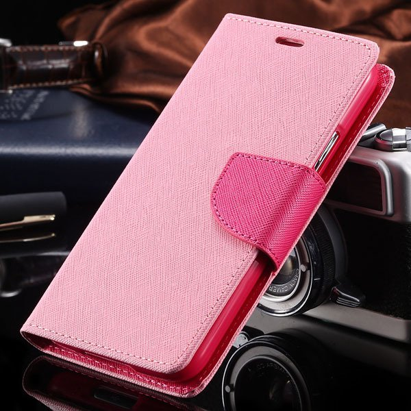 S6 Leather Case Double Color Full Protect Cover For Samsung Galaxy 32302336226-4-pink