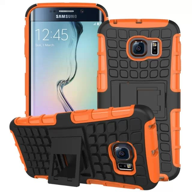 S6 Edge Hybrid Kickstand Case Perfect Fit Armor Cover For Samsung  32297145450-4-orange
