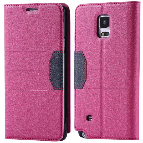 Full Pu Leather Case For Samsung Galaxy Note 4 N9100 Flip Mango Pa 32246409376-5-hot pink