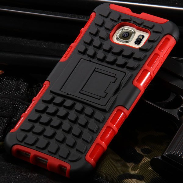 S6 Hybrid Case Anti-Skid Armor Cover For Samsung Galaxy S6 G9200 H 32304459338-3-red