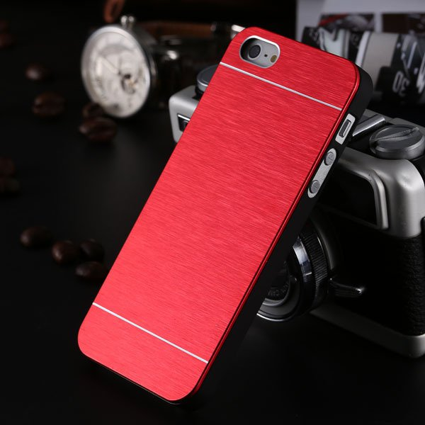 5S Aluminum Case Deluxe Gold Metal Brush Cover For Iphone 5 5S 5G  1810132892-3-red for 5s