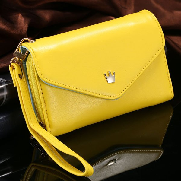General Use Pouch Wallet Pu Leather Case For Iphone 5S, 4S, 6 4.7I 1035908080-6-yellow