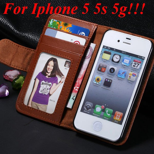 4S 5S Luxury Pu Leather Case Photo Frame Flip Cover For Iphone 5 5 1330267603-3-brown for 5s