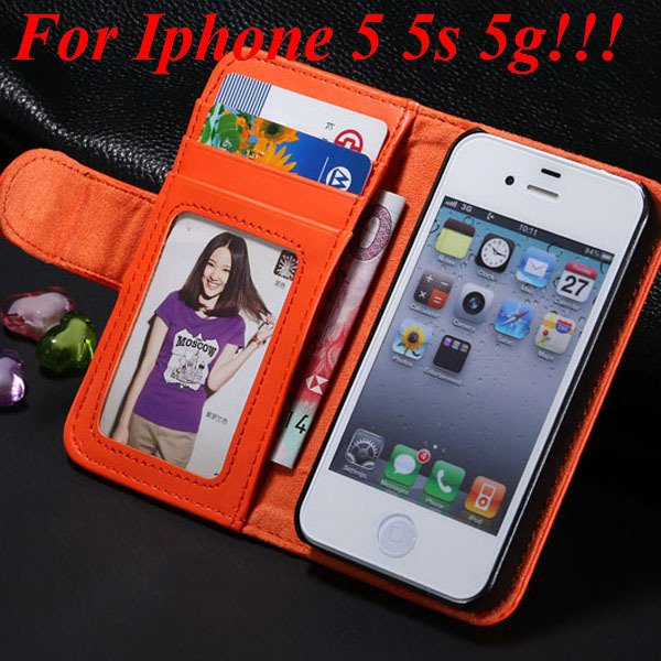 4S 5S Luxury Pu Leather Case Photo Frame Flip Cover For Iphone 5 5 1330267603-6-orange for 5s