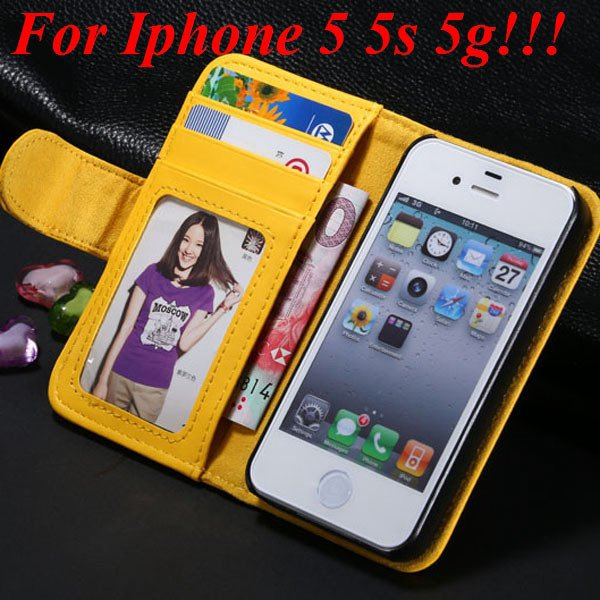4S 5S Luxury Pu Leather Case Photo Frame Flip Cover For Iphone 5 5 1330267603-8-yellow for 5s