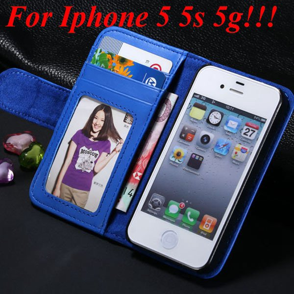 4S 5S Luxury Pu Leather Case Photo Frame Flip Cover For Iphone 5 5 1330267603-9-blue for 5s