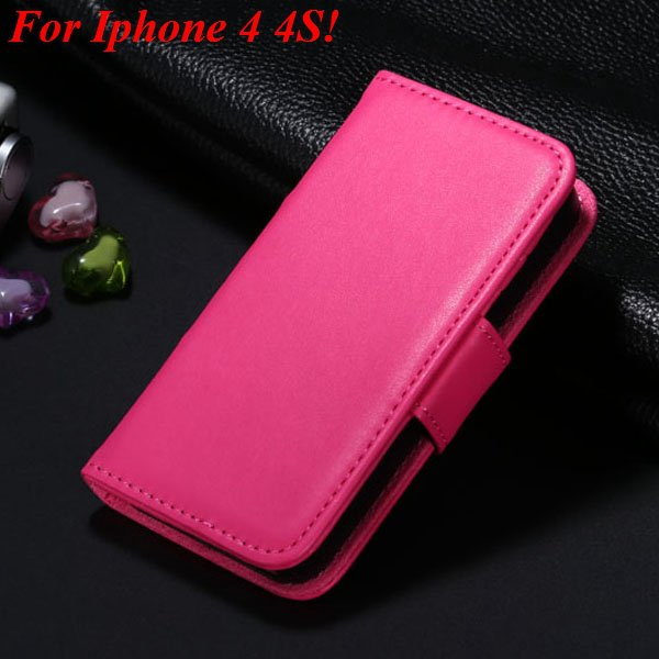 4S 5S Luxury Pu Leather Case Photo Frame Flip Cover For Iphone 5 5 1330267603-15-hot pink for 4s