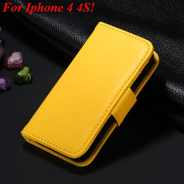 4S 5S Luxury Pu Leather Case Photo Frame Flip Cover For Iphone 5 5 1330267603-18-yellow  for 4s