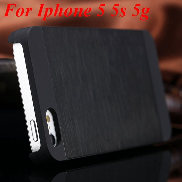 5S 4S Aluminum Case Deluxe Metal Brush Back Cover For Iphone 5 5S  1850171571-1-black for 5S