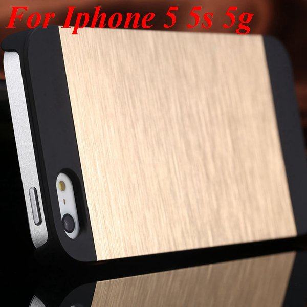 5S 4S Aluminum Case Deluxe Metal Brush Back Cover For Iphone 5 5S  1850171571-4-gold for 5S