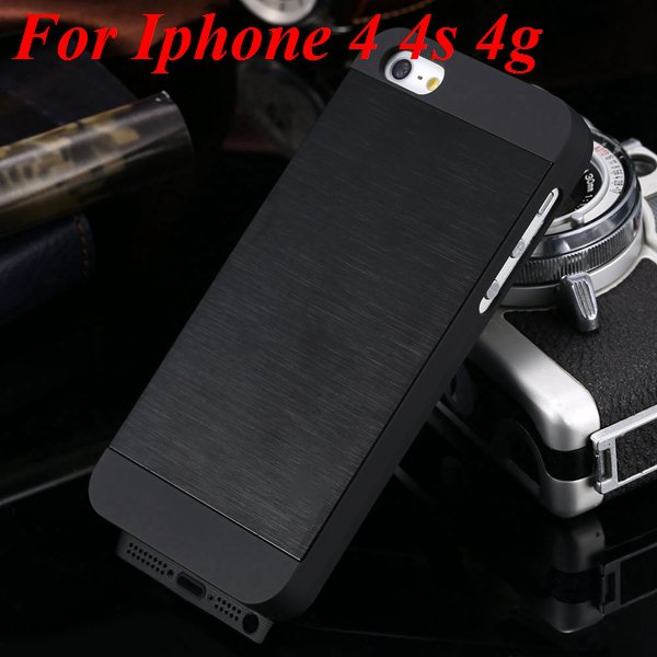 5S 4S Aluminum Case Deluxe Metal Brush Back Cover For Iphone 5 5S  1850171571-7-black for 4S