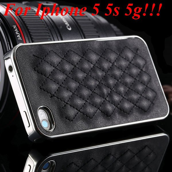 Luxury Gold Pu Leather Case For Iphone 5 5S 5G / 4 4S 4G Sheep Gri 1809974110-1-5s silver and black