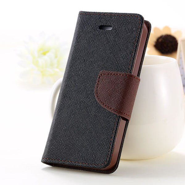 Full Case For Iphone 5 5S 5G Flip Leather Carring Cover With Buckl 1774391390-11-black and brown