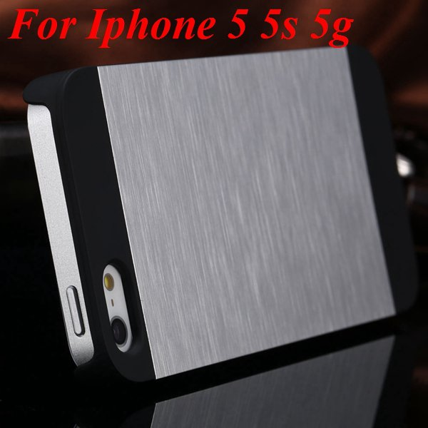 4S 5S Back Case Luxury Metal Brush Aluminum Cover For Iphone 4 4S  1850110222-2-silver for 5S