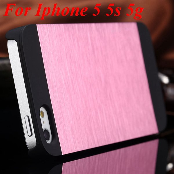 4S 5S Back Case Luxury Metal Brush Aluminum Cover For Iphone 4 4S  1850110222-6-pink for 5S