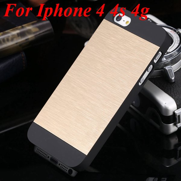 4S 5S Back Case Luxury Metal Brush Aluminum Cover For Iphone 4 4S  1850110222-11-gold  for 4S