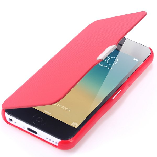 Fashion Flip Pu Leather Full Protect Cover For Apple Iphone 5C Cas 32240347361-3-red