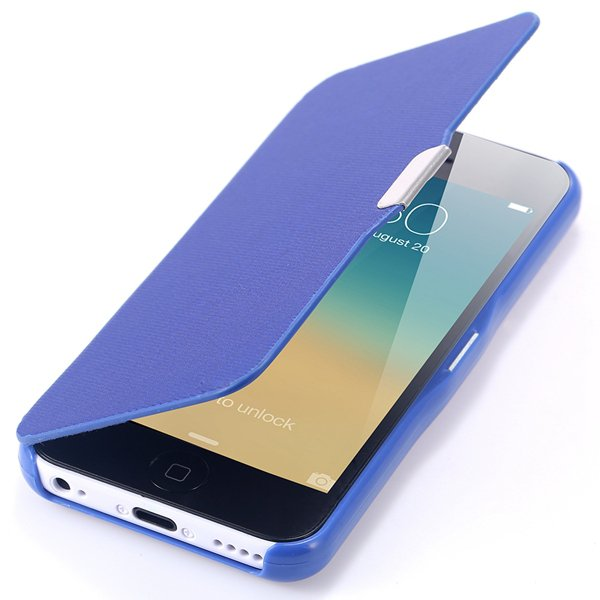 Fashion Flip Pu Leather Full Protect Cover For Apple Iphone 5C Cas 32240347361-4-blue