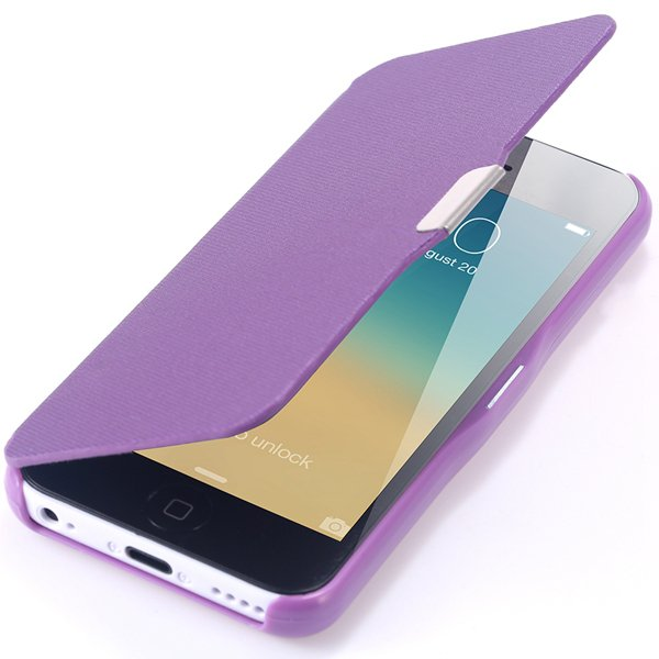 Fashion Flip Pu Leather Full Protect Cover For Apple Iphone 5C Cas 32240347361-6-purple