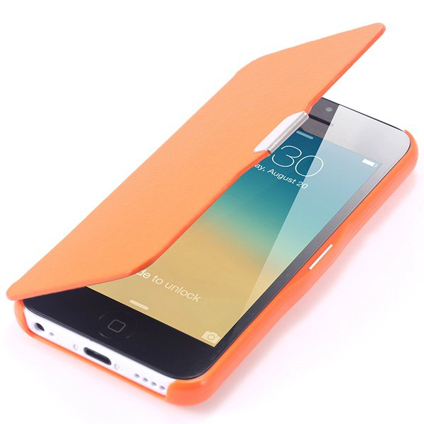 Fashion Flip Pu Leather Full Protect Cover For Apple Iphone 5C Cas 32240347361-8-orange