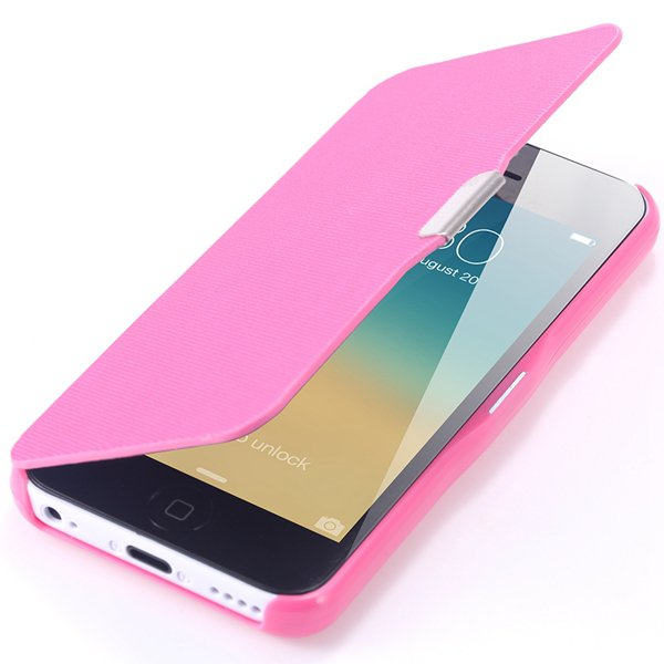 Fashion Flip Pu Leather Full Protect Cover For Apple Iphone 5C Cas 32240347361-9-hot pink