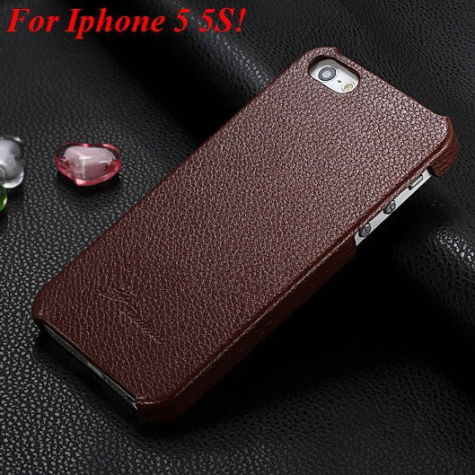 4S 5S Genuine Leather Case Original Real Cowhide Leather Cover For 1551484355-2-brown for 5S