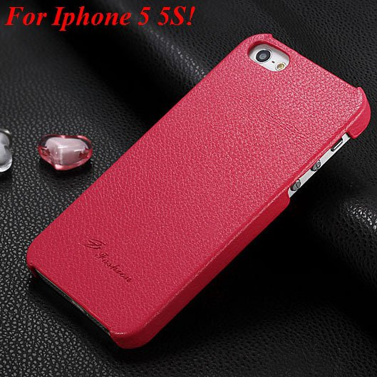 4S 5S Genuine Leather Case Original Real Cowhide Leather Cover For 1551484355-3-hot pink for 5S