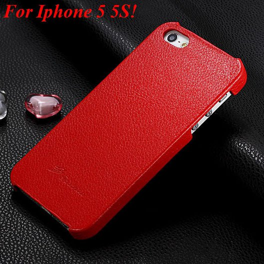 4S 5S Genuine Leather Case Original Real Cowhide Leather Cover For 1551484355-4-red for 5S